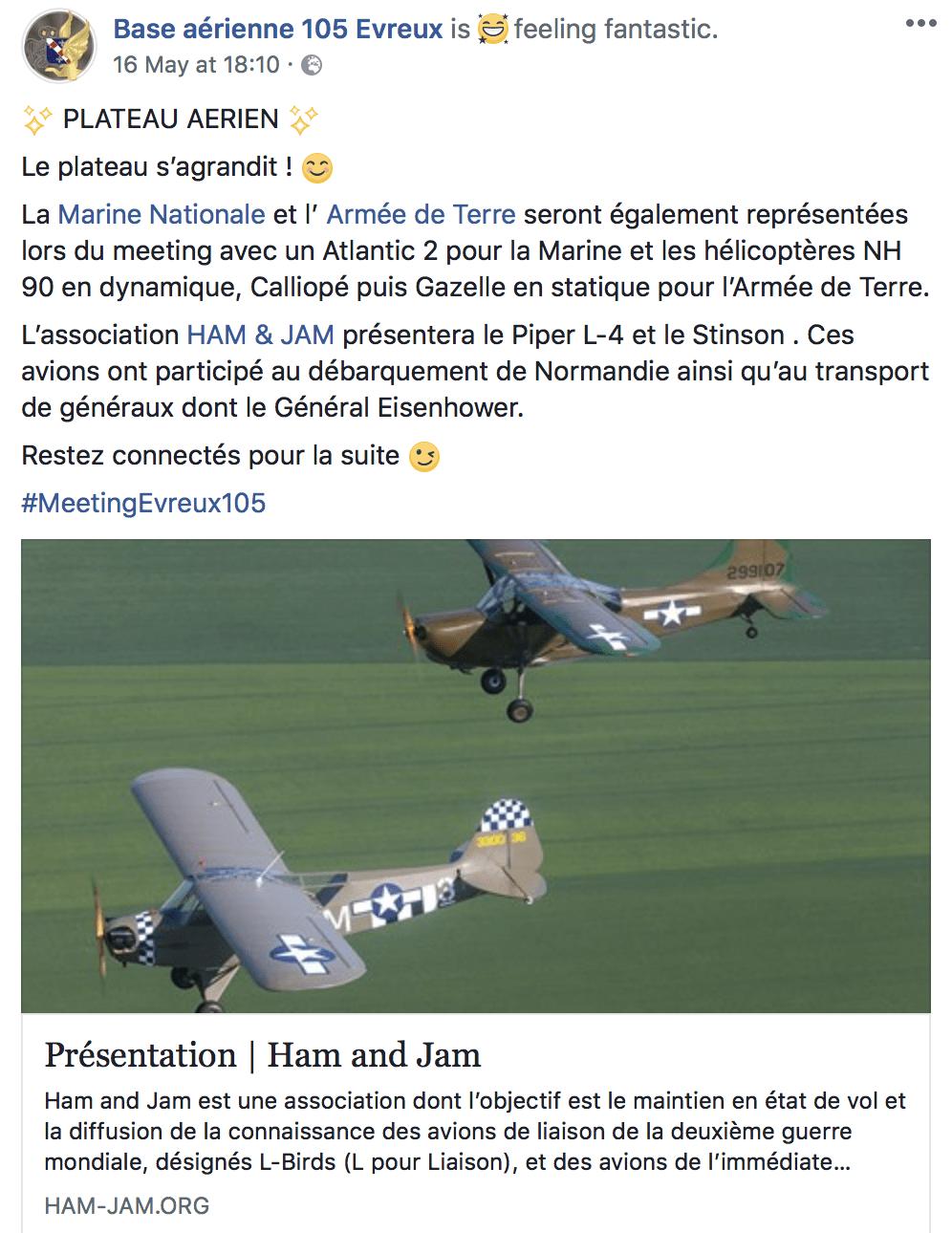post Facebook de la Base aérienne 105 pour le meeting de l'air 2018